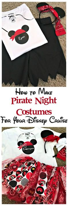 How to make pirate night costumes for Disney cruise Dressing up is half the fun of a Disney Cruise. Learn how to make your own Disney cruise pirate night costumes using heat transfer vinyl. Disney Cruise Door, Disney Cruise Tips, Disney Diy, Disney Crafts, Disney Vacations, Disney Trips, Cruise Vacation, Cozumel Cruise, Disney Travel