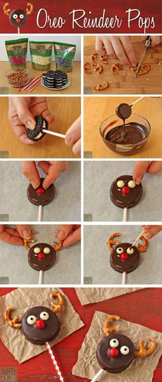How to make Reindeer Oreo Cookie Pops // Piruletas de reno con galletas Oreo Christmas Snacks, Xmas Food, Christmas Cooking, Christmas Goodies, Christmas Candy, Reindeer Christmas, Funny Christmas, Christmas Cake Pops, Holiday Pops