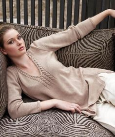 Free knitting pattern for elegant tunic with cable neckline pullover sweater | Tunic Knitting Patterns at http://intheloopknitting.com/tunic-and-dress-knitting-patterns/