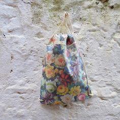 Summer Flowers Cotton Backpack Bag - Womens Romantic Pastel Backpack Handbag Purse