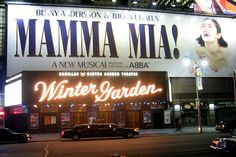 Winter Garden Theater marquee, showing the ABBA hit musical, Mamma Mia!