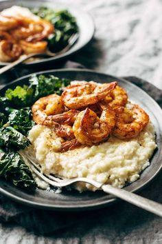 Spicy Shrimp with Cauliflower Mash & Garlic Kale