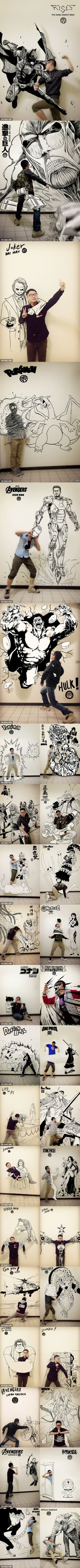 Epic Asian Guy Draws Himself with Anime, manga, and comic Book Characters!—This is so cool! I especially love the hollow mask and Sai ones!