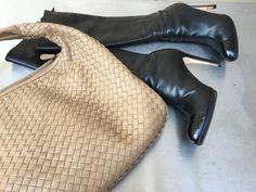 Camel Botega Veneta Veneta bag, black L.K. Bennett leather boots with patent toe caps  #BottegaVeneta #LKBennett #fashion #separates #camel #black #boots #shoes #bags #handbag #lifestyle #food #travel #London #blog #fizzoflifeblog www.fizzoflife.com
