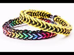 Rainbow Loom Bracelets Easy, Loom Band Bracelets, Rainbow Loom Tutorials, Rainbow Loom Patterns, Rainbow Loom Creations, Rainbow Loom Bands, Rainbow Loom Charms, Rubber Band Bracelet, Diy Friendship Bracelets Patterns