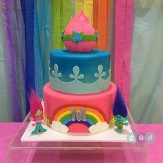 "This Trolls cake is the perfect centerpiece for ""the CRAZIEST party ever""!  #trolls #trollscake #birthday #trollsbirthday #cake"