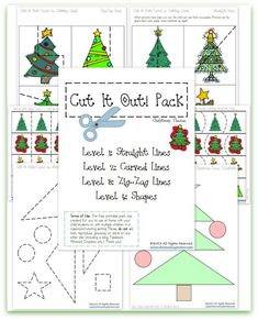 FREE Christmas Cutting Practice Pack {Cut it Out!} ~ 4 Levels of Cutting Practice ~ Straight Lines, Curved Lines, Zig-Zags and Shapes! | This Reading Mama