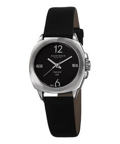 Loving this Black & Silvertone Diamond Watch on #zulily! #zulilyfinds