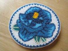 MUSEUM QUALITY ESTATE piece! Native American Indian beaded BLUE ROSE belt buckle