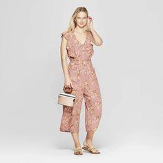 08b3b3550c6ea Women's Floral Print Short Sleeve V-Neck Button Tie Front Jumpsuit -  Xhilaration™