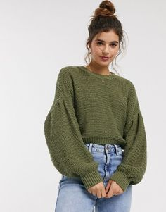 Shop ASOS DESIGN fluffy crew neck jumper with volume sleeve. With a variety of delivery, payment and return options available, shopping with ASOS is easy and secure. Shop with ASOS today. High Neck Jumper, Roll Neck Sweater, Cable Knit Jumper, Ribbed Sweater, Jumpers For Women, Cardigans For Women, Women's Jumpers, Asos, Jackets
