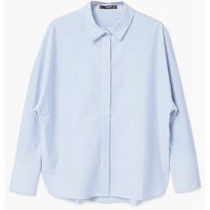 MANGO Stripes Cotton Shirt (68,455 KRW) ❤ liked on Polyvore featuring tops, sky blue, blue striped shirt, long-sleeve shirt, long sleeve shirts, cotton shirts and long sleeve cotton shirts