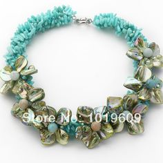 Free Shipping green color coral and shell flower necklace party jewelry $29.94
