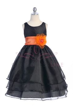 Black Organza Simple Layered Flower Girl Dress with Sash CD-574-BK $56.95 on www.GirlsDressLine.Com
