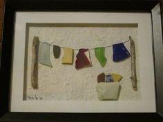 Beach Glass Art Clothesline by lilypadkreations on Etsy Sea Glass Crafts, Sea Crafts, Sea Glass Art, Rock Crafts, Stained Glass Art, Fused Glass, Deco Nature, Art Diy, Art Sculpture