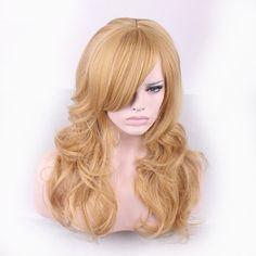 65センチファッションセクシーなロングカーリー波状コスプレ傾いfrisette女性かつらヘアウィッグ女の子ギフトゴールデンhb88
