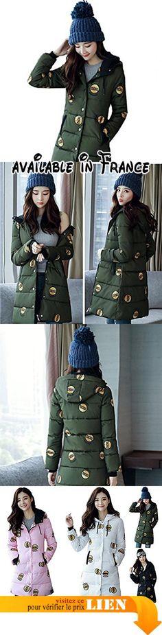 B076J98F3L : Bigood Femme Longue Manteau Imprimé Chaud Doudoune à Capuche en Polyester Vert d'armée Taille XXL.