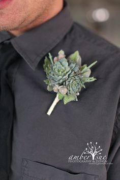 Living Succulent Boutonniere,Rustic Boutonniere,Burlap Boutonniere,Wedding Succulent,Winter Boutonniere via Etsy