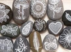 Geninne's Art Blog....great ideas, like white ink on rocks
