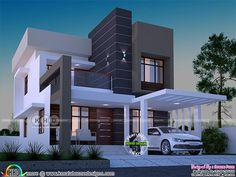 1645 square feet 3 bedroom box model home Modern Small House Design, Bungalow House Design, House Front Design, Modern House Plans, Modern Houses, Kerala Traditional House, Indian House Plans, Beautiful House Plans, Kerala House Design