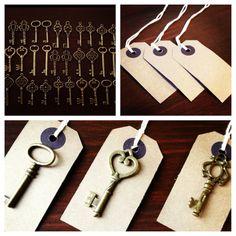 Keys of Wedlock - Skeleton Key Wedding Favors 100 Antique Bronze Skeleton Keys & 100 Kraft Tags - Wedding Skeleton Keys, Escort Card Keys