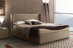 Custom Contract King Bed, with walnut trim in a woven taupe fabric
