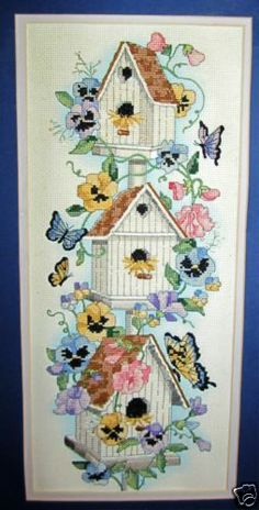 Completed Counted Cross Stitch Birdhouse Butterflies Flowers Frame Matted Pastel