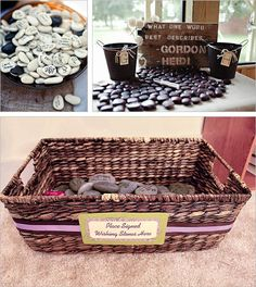 Wishing stones ~ An Irish wedding tradition wherein they have their wedding guests write their best wishes on smooth stones. Put together a wedding guest book table with plenty of pebbles and a glass vase filled up with water. After the guest signed with a permanent marker, they can put the stones inside the vase. This represent and bring back the tradition of throwing stones into a river or pool.