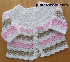 Free baby crochet pattern for pretty coat FJC01 http://www.justcrochet.com/pretty-coat-usa.html #justcrochet