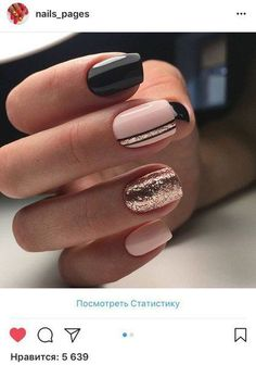 Semi-permanent varnish, false nails, patches: which manicure to choose? - My Nails Fancy Nails, Love Nails, Trendy Nails, My Nails, Rose Gold Nails, Pink Nails, Black And Nude Nails, Black Nail, Nagellack Design