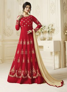 Buy bollywood celebrity ayesha takia liked red embroidered gown dress online. This anarkali shape attire has round neck, full sleeves, diamonds & embroidery. Designer Anarkali, Gown Dress Online, Dresses Online, Bollywood Dress, Bollywood Fashion, Indian Dresses, Indian Outfits, Indian Clothes, Robe Anarkali