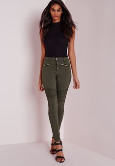 When it comes to denim, don't sweat it! We'll have you looking like a bad-ass with a good ass in no time! In a fierce khaki shade, high waisted fit for a figure flattering finish and that always on trend biker style, we've fallen for these ...