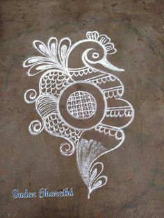 Embroidery designs bird tattoo ideas 23 ideas for 2019 Rangoli Designs Latest, Simple Rangoli Designs Images, Colorful Rangoli Designs, Rangoli Ideas, Rangoli Designs Diwali, Beautiful Rangoli Designs, Easy Rangoli, Diwali Rangoli, Free Hand Rangoli Design