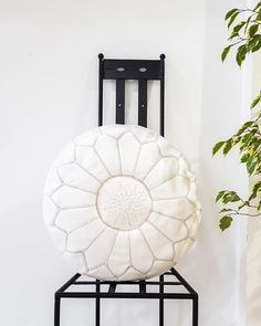Your place to buy and sell all things handmade Moroccan Leather Pouf, Moroccan Pouf, Yellow Cushions, White Pillows, Leather Ottoman, White Leather, Decorating Your Home, Outdoor Spaces, Room