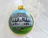 Custom house / home portrait handpainted on glass ball ornament. Personalized!