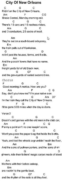 City Of New Orleans - guitar chords & lyrics