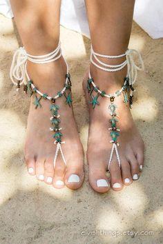 Details about  /Women Cotton Knit Hollow Out Flower Crochet Barefoot Sandals Beach Anklet Chain