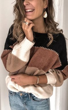 Color Block Sweater for Women Striped Lightweight Ballon Sleeve Crew Neck Loose Casual Knit Pullover Sweater Tops Casual Sweaters, Pullover Sweaters, Jumper, Sweaters For Women, Women's Sweaters, Loose Sweater, Long Sleeve Sweater, Fall Knitting, Color Block Sweater