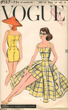 Vogue #9167; ©1957; One Piece Playsuit and Skirt. Shorts in two lengths join the sleeveless bodice at waist-line. Button front closing below the wide, square neck-line. Wide circular skirt has front buttoned closing and pockets from side seams.