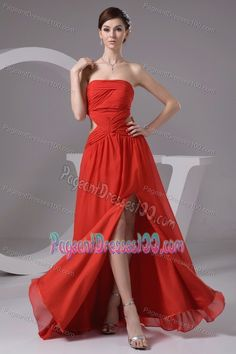 Rust Red Strapless High Slit Chiffon Pageant Dress with Cutout Waist