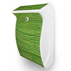 Burg Wächter Briefkasten Swing Weiß Postbox Briefkasten mit Motiv: Bambus Grün