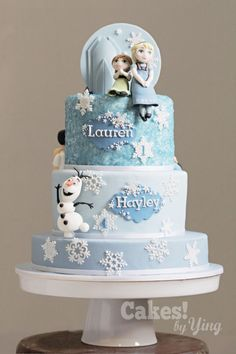 Frozen Little Elsa, Anna and Olaf cake toppers
