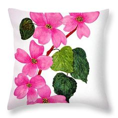 "Dogwood Five 14"" x 14"" Throw Pillow by Flamingo Graphix John Ellis.  Our throw pillows are made from 100% cotton fabric and add a stylish statement to any room.  Pillows are available in sizes from 14"" x 14"" up to 26"" x 26"".  Each pillow is printed on both sides (same image) and includes a concealed zipper and removable insert (if selected) for easy cleaning."