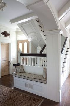 Beautiful arch, column, built-in bench and stairway