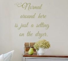 Vinyl Wall Decal- Normal around here is just a setting on the dryer. Wall Quotes Laundry Room Entryway Decor by landbgraphics on Etsy https://www.etsy.com/listing/209739631/vinyl-wall-decal-normal-around-here-is