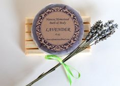 NEW! Lavender round soap with lavender buds by HancoxHomestead on Etsy, $6.50