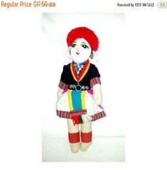 Vintage Peruvian Cloth Doll,Ecuador Cloth Doll,Folk Art Doll,Jointed Arms and Legs,Vintage Doll,Peru,Souvenir Doll,Ecuadorian,Peruvian Doll by JunkYardBlonde on Etsy