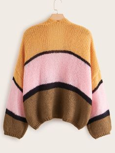 Plus Colorblock Chunky Knit Cardigan , Plus Size Cardigans, Chunky Knit Cardigan, Small Shoulder Bag, Spring And Fall, Spring Outfits, Color Blocking, Classic Style, Retro Vintage, Vintage Fashion