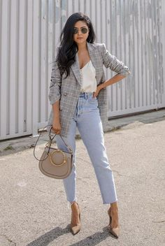 Grey check blazer, white cami top, mom jeans, beige heels, round aviator sunglasses, beige ring handle bag. Fall outfits, fall fashion trends 2017, fall trends 2017, grey blazer outfits, check blazer outfits, plaid blazer outfits, glen plaid blazer, prince of wales blazer, street style, casual outfits, party outfits, night out outfits. #MensFashionNightOut