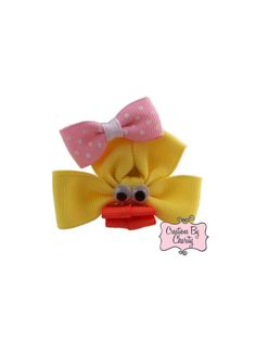 Yellow Duck Hair Bow Clip Ribbon Sculpture by CreationsByCharity on Etsy, $5.00